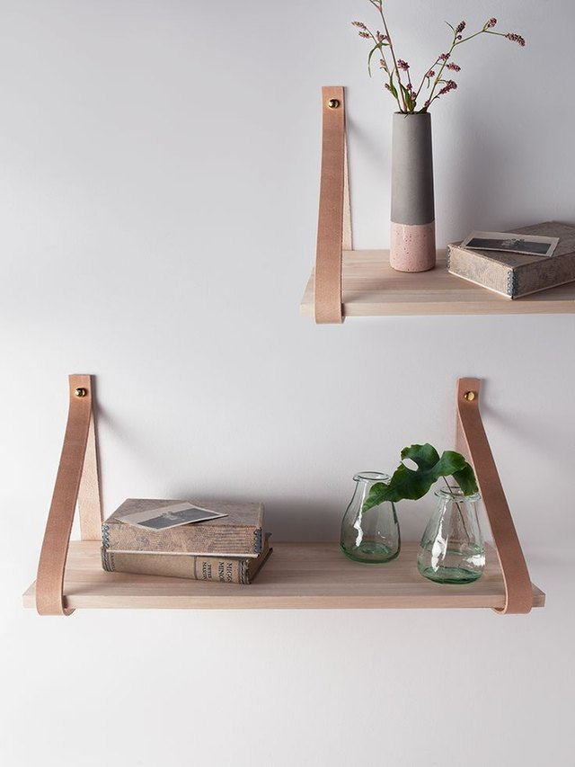 leather strap wall shelves