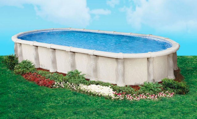 A Doughboy resin above-ground swimming pool.