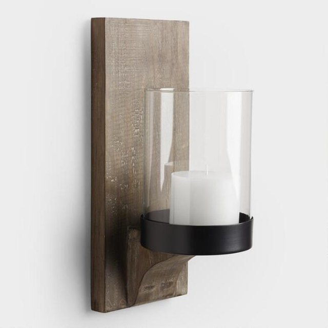 Wood and glass sconce