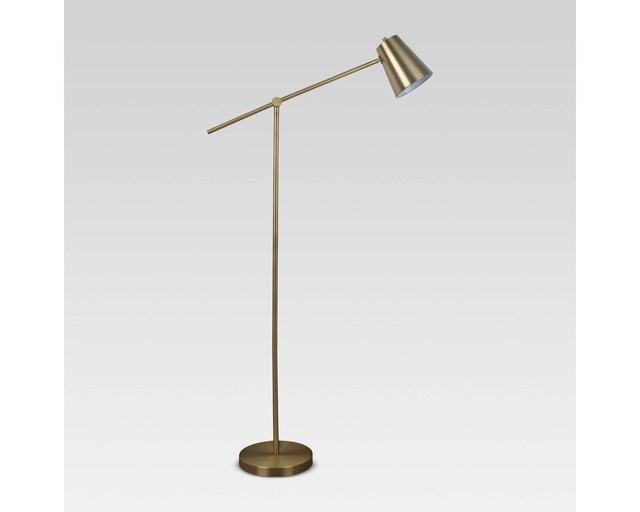 Brass lever floor lamp