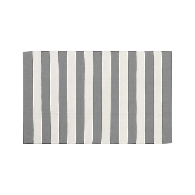 Grey and white striped rug