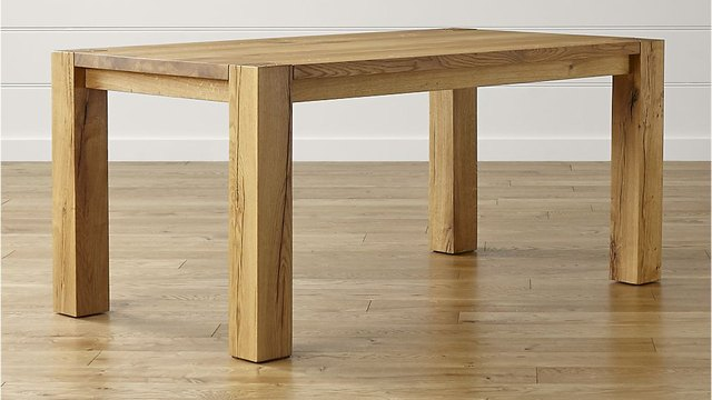 Simple and heavy solid wood dining table with medium finish