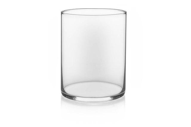 Wide cylinder glass vase