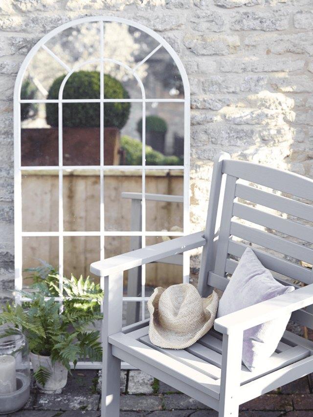 window mirror in garden