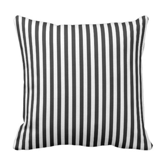 Black and white striped throw pillow with thin stripes