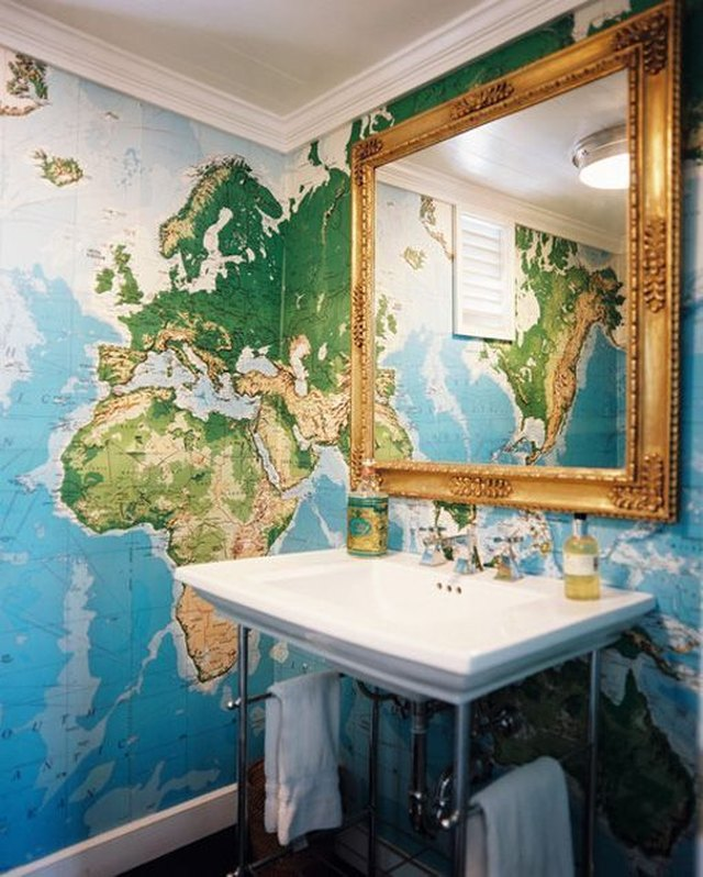 bathroom with world map wallpaper