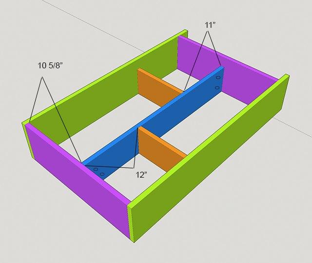 Digital image of center divider and shelves in murphy bar frame.