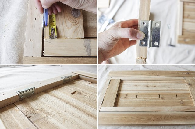 """Four steps of attaching the 2"""" hinges on the legs and support frame of the bar."""