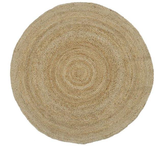 Round rattan area rug