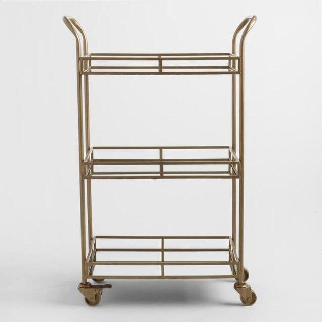 gold three tier rolling bar cart