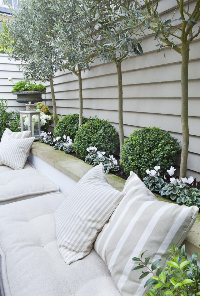 garden bench seating with patterned planting