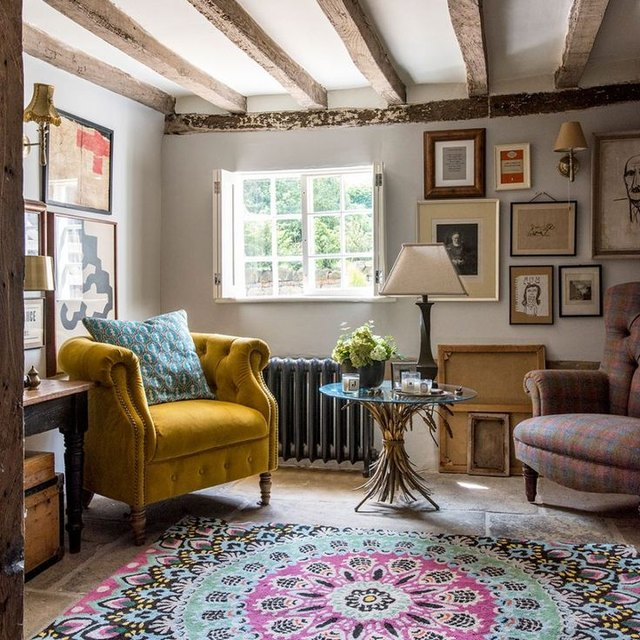 patterned textiles English country home