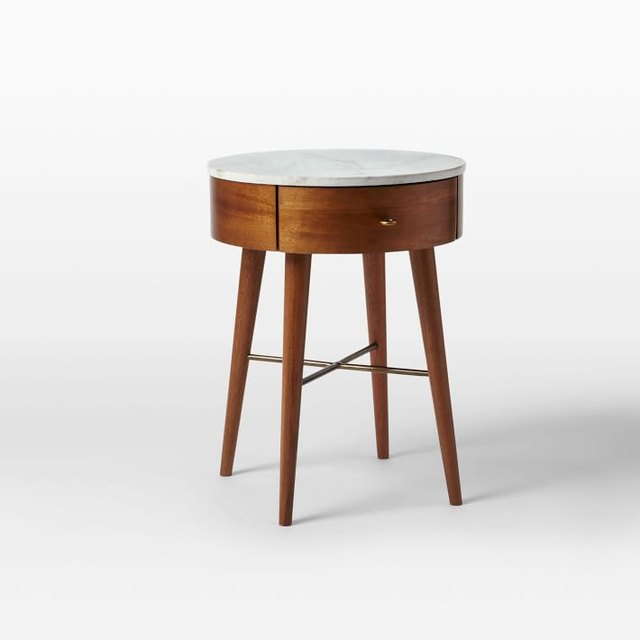 Small circular wooden nighttand with white lacquer top