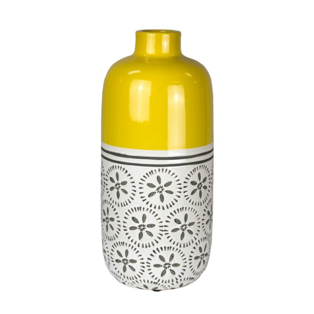 Sagebrook Home Yellow and White Ceramic Vase