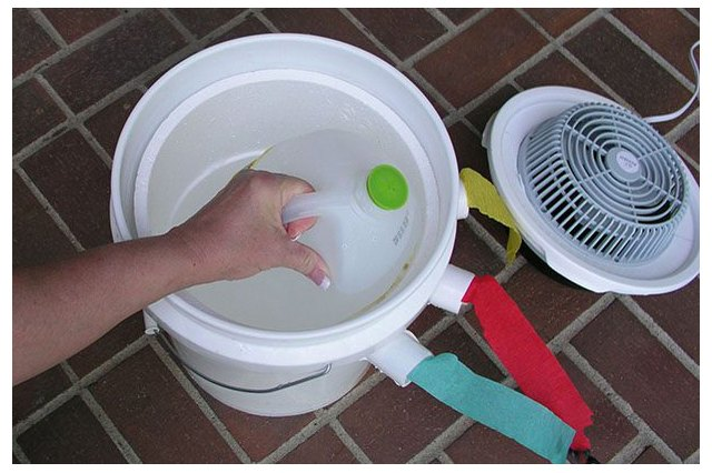 Placing frozen water bottle in bucket.