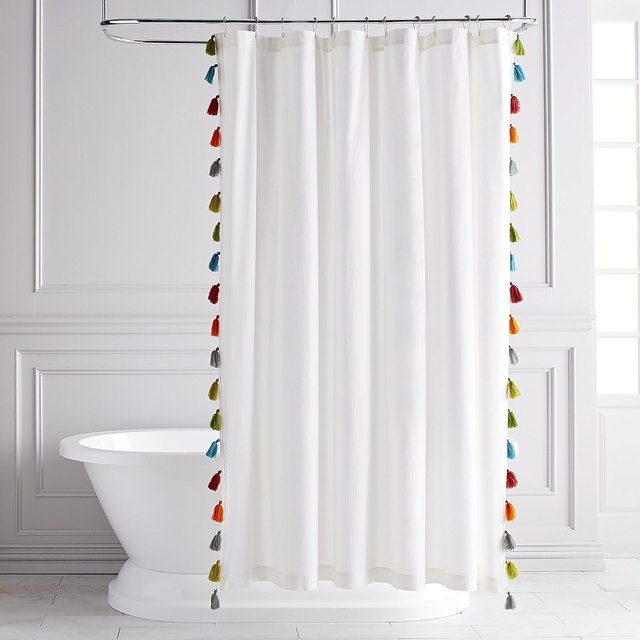 Colorful tasseled shower curtain