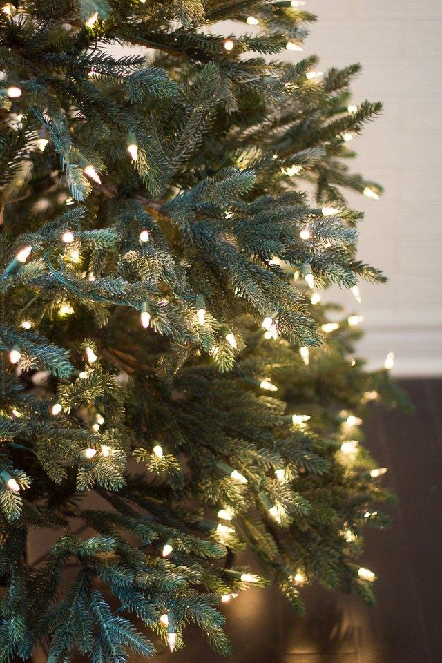 Lights strung on Christmas tree