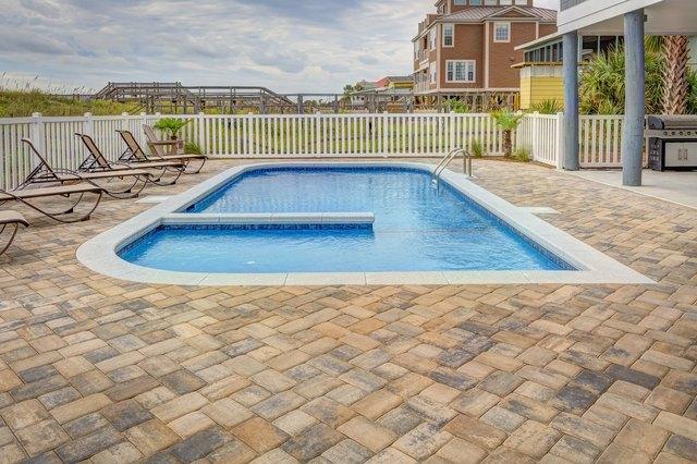 Backyard pool in summer.