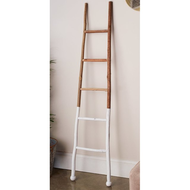Decorative wooden ladder with lower 1/3 painted white