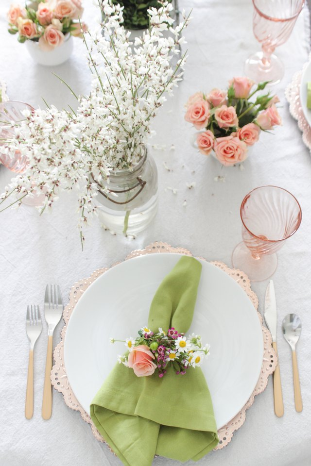 Spring tablescape with floral napkin rings