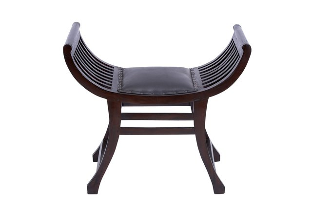 Living Spaces wood and leather stool.
