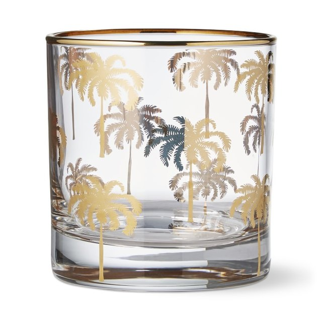 gold-rimmed palm tree old-fashioned glassware