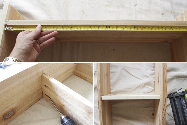 Measure and attach divider with pocket hole screws and shelves with nail gun.