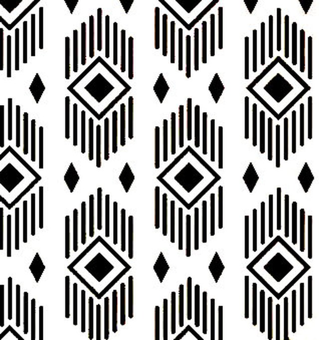 Black and white stencil featuring diamond pattern