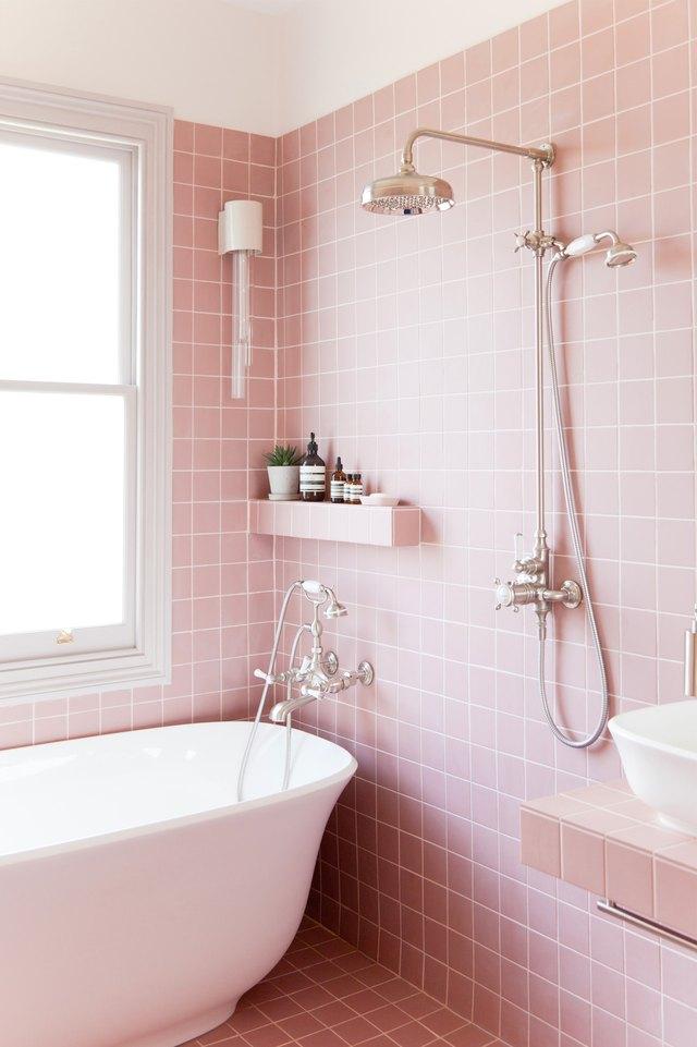 pink shower tile