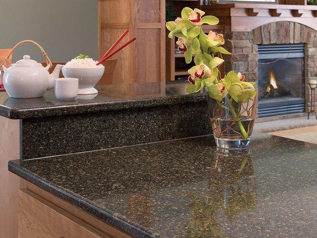 Detail of dark quartz countertop