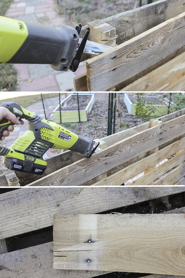 Cutting through nails on pallet planks