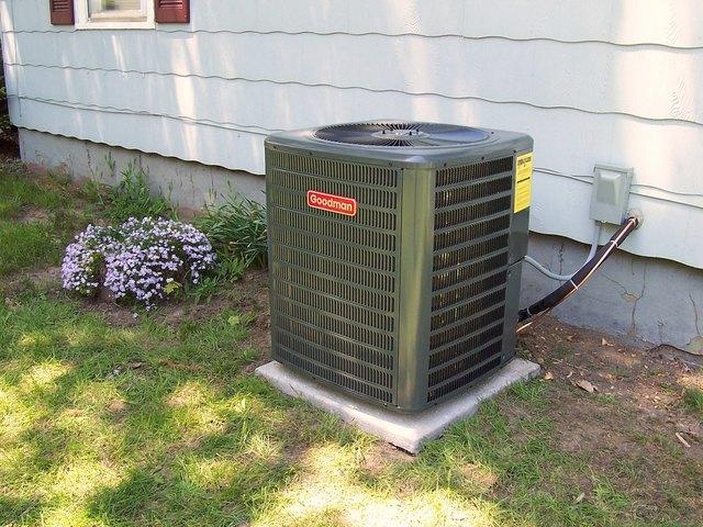 Air conditioner unit in yard