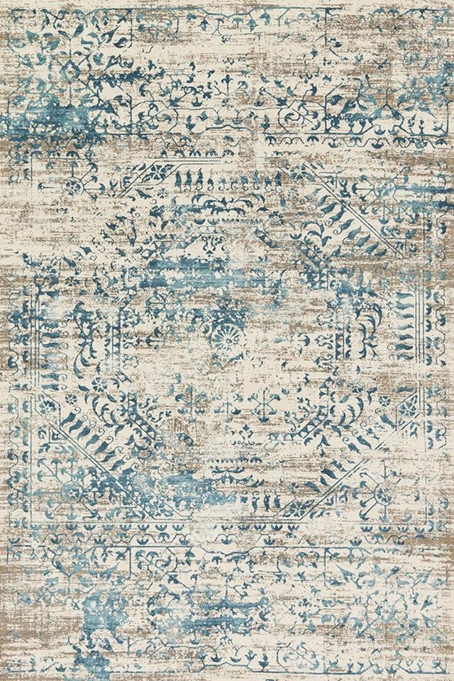 Blue and white patterned rug