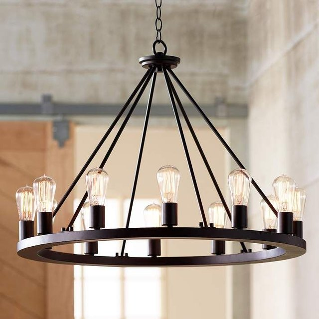 Round Iron Chandelier industrial light fixture ideas