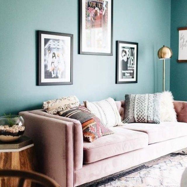 blush pink velvet sofa