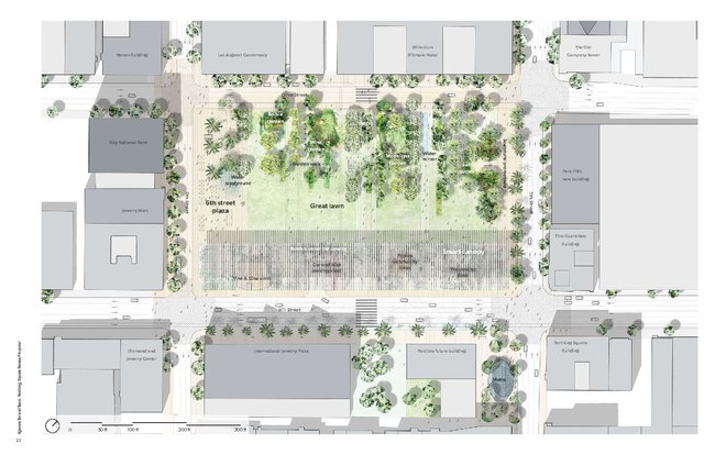 "The rendering of the proposed plan features uninterrupted pedestrian access and a block-long ""smart canopy"" that will extend the full length of the park."
