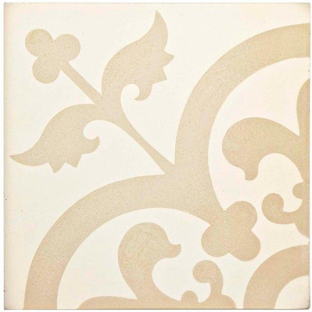 Piece of ceramic tile featuring cream and beige design