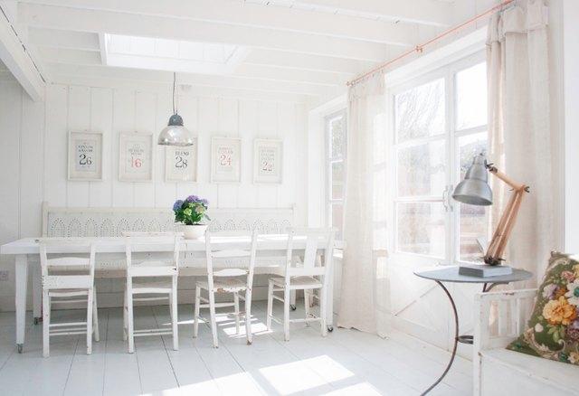 white kitchen dining room