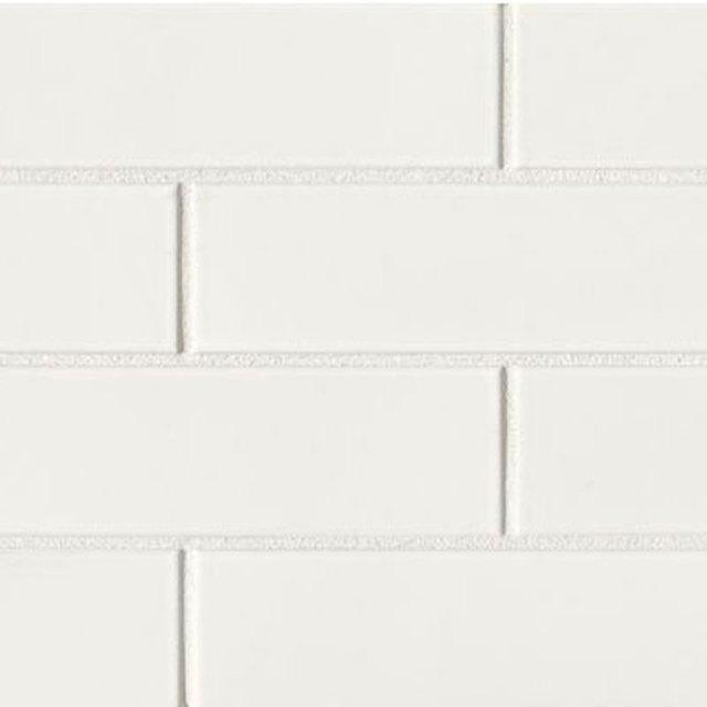 White porcelain subway tile