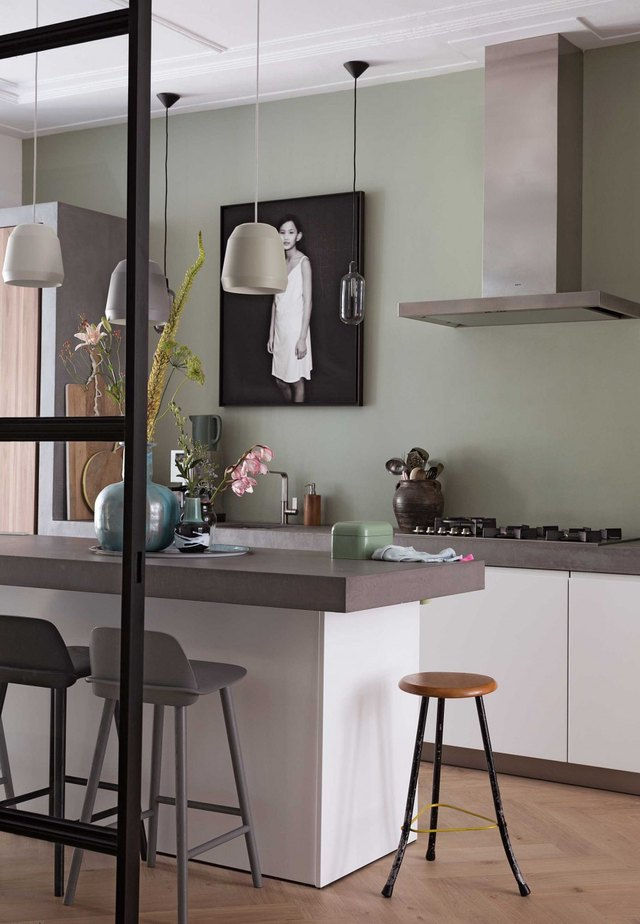 green and gray color palette in kitchen