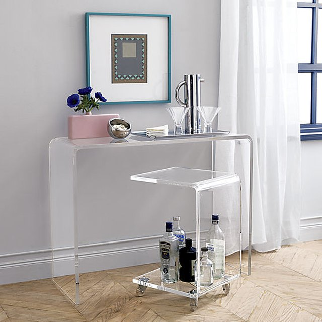 CB2 acrylic furniture console table and rolling cart