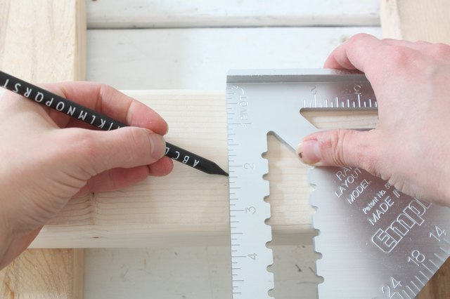 Marking the cut line on the 2x4