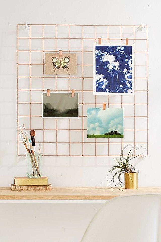 Peach wall grid for office organization