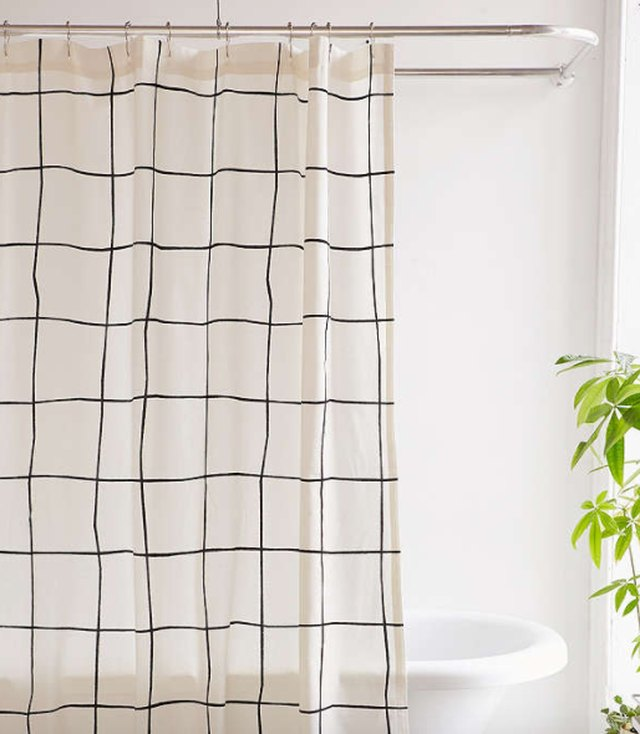 grid shower curtain