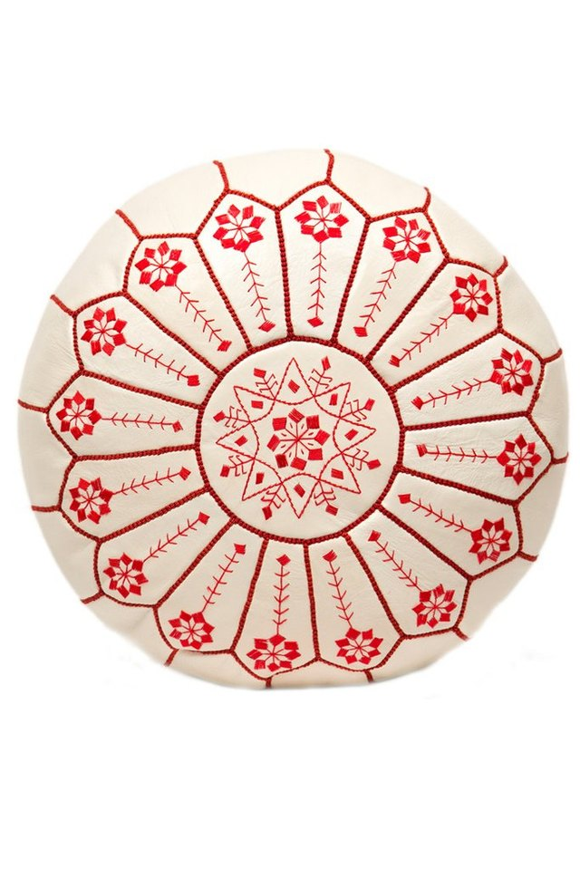 Casablanca Market embroidered leather pouf.
