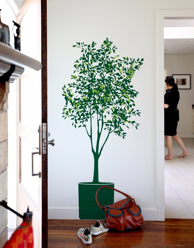 BLIK olive wall decal green potted tree on white apartment wall