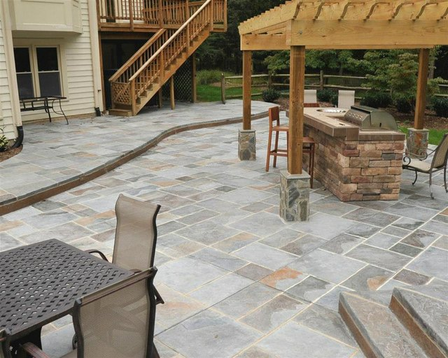 salzano custom stamped concrete patio kitchen
