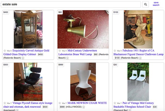 search estate sale on Craigslist