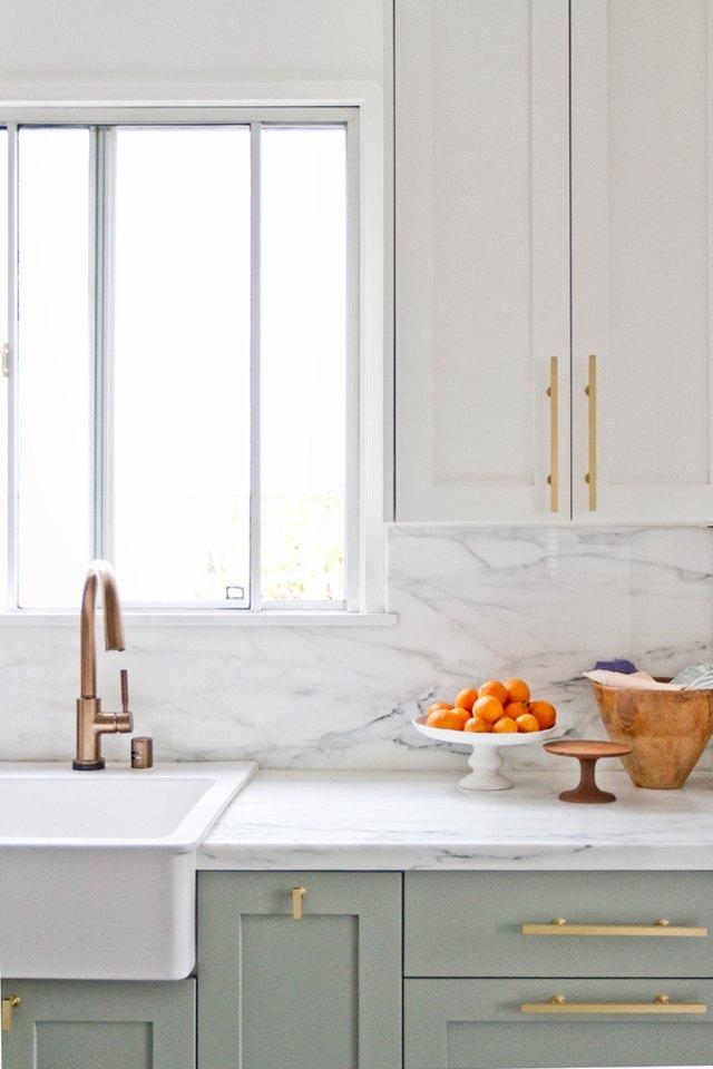 brass cabinet fixtures in kitchen by sarah sherman samuel