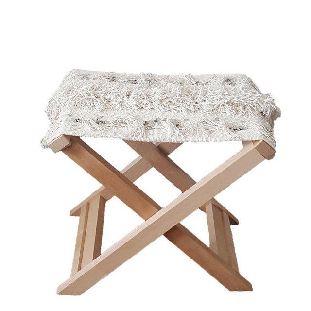 MindaLiving Moroccan handira folding bench.
